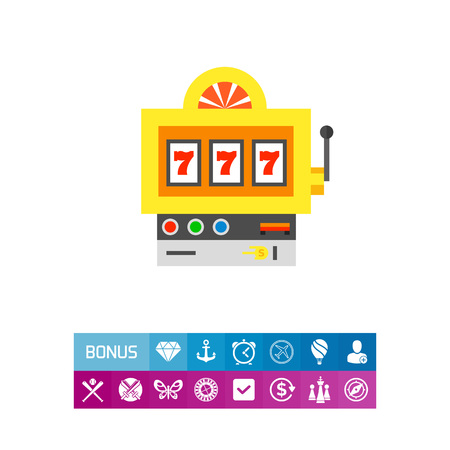 Slot machine with lucky seven winning combination. Fortune, success, random. Luck concept. Can be used for topics like gambling, marketing, technology.
