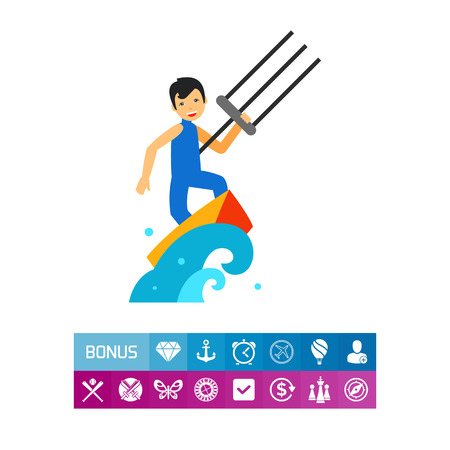 diving board: Kite Surfing Icon Illustration