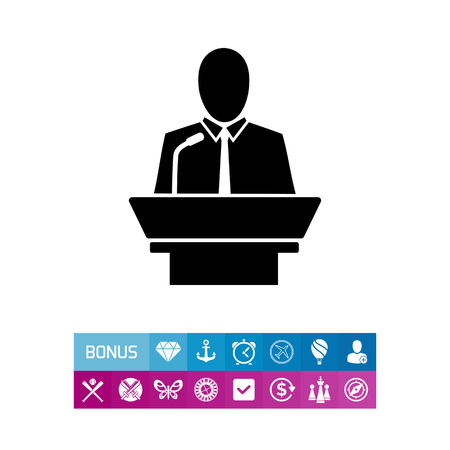 Monochrome simple icon of leader holding speech