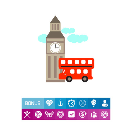 Icon of Big ben and red double decker bus