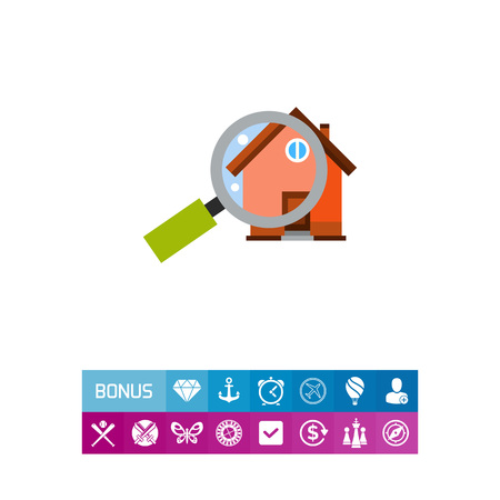 Magnifying Glass in Front of House Icon illustration. Illustration