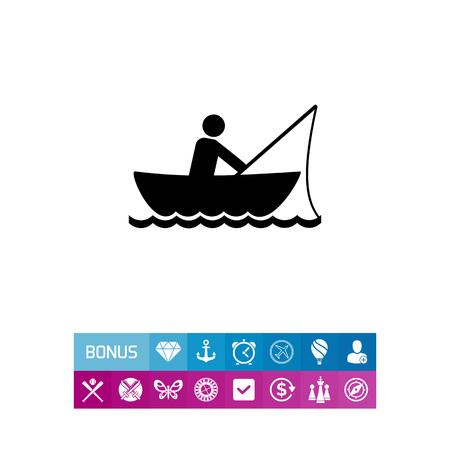 Man Fishing in Boat Icon Illustration