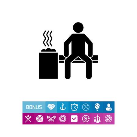 Man in Sauna Room Icon Illustration