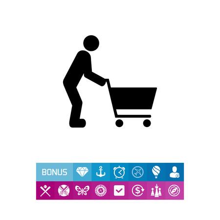 Man Pushing Shopping Cart Icon