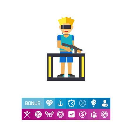 Man Playing VR Game Icon Illustration