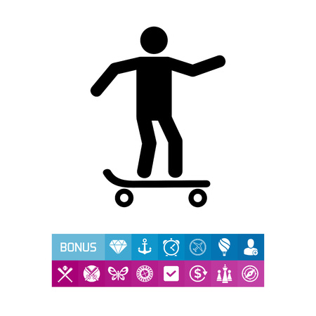 sports application: Man Skating on Skateboard Icon Illustration