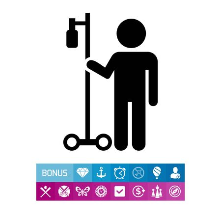 intravenous: Man with drip bulb. Vector illustration.