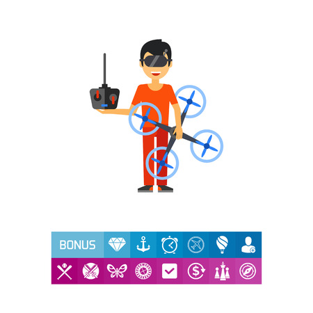 Man with Drone and Remote Control Icon Illustration