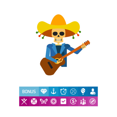 Mariachi Skeleton Guitar Player Icon