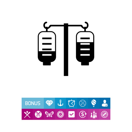 Vector icon of medical drip with two iv bags Illusztráció