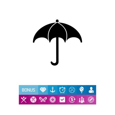 climatology: Monochrome vector icon of umbrella representing meteorology concept