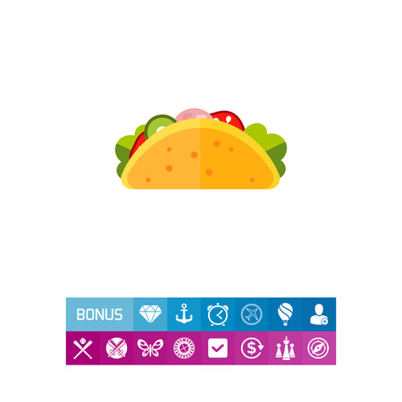 Taco. Dish, delicious, Mexican. Fast food concept. Can be used for topics like cooking, cuisine, marketing. Vector Illustration