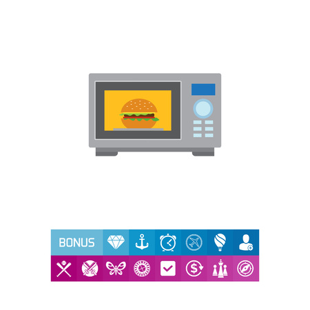 A Vector icon of kitchen microwave oven with hamburger inside.