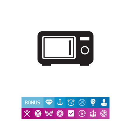 Vector icon of kitchen microwave oven silhouette Illustration