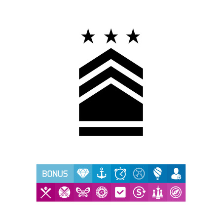 Military badge with three stars. Rank, uniform, identification. Army concept. Can be used for topics like armed forces, war, military science. Çizim