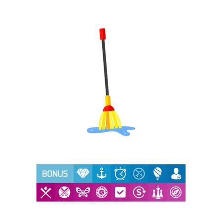 wet floor: Mop and Water Icon illustration. Illustration
