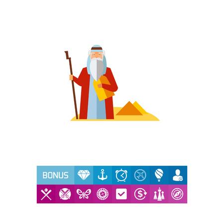 Moses in Desert Icon illustration. Illustration