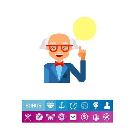 Old grey-haired balding man wearing glasses and blue suit with speech bubble. Intellect, knowledge, teacher. Professor concept. Can be used for topics like study, teaching, education.