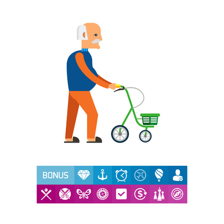 Multicolored flat icon of old man with walkers