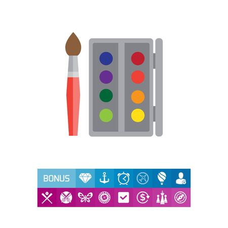 Paintbox and brush Illustration