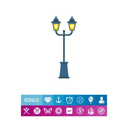 Illustratie van parklamp met twee lichten. Entertainment, verlichting, decoratie. Park lamp concept. Kan worden gebruikt voor onderwerpen zoals verlichting, parkeren, entertainment