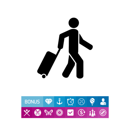rolling bag: Man pulling rolling bag. Clothing, heavy, flight. Travel concept. Can be used for topics like tourism, holiday, business. Illustration
