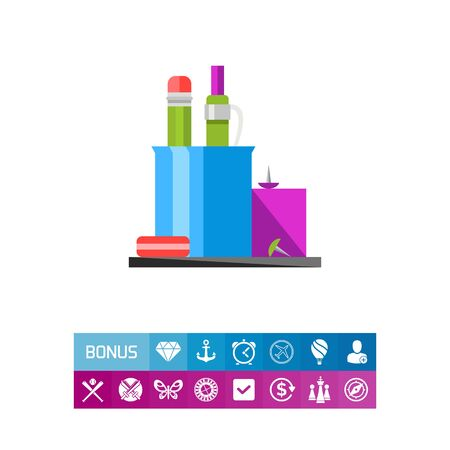 Pencil Stand with Pen and Rubber Icon Illustration