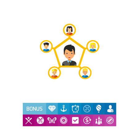 large group of business people: Multicolored vector icon of young man connected to five other people representing personal connection concept Illustration
