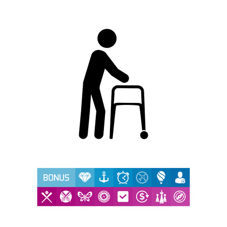 medical drawing: Person with walker. Aid, care, disability. Disabled concept. Can be used for topics like medicine, health, technology. Illustration