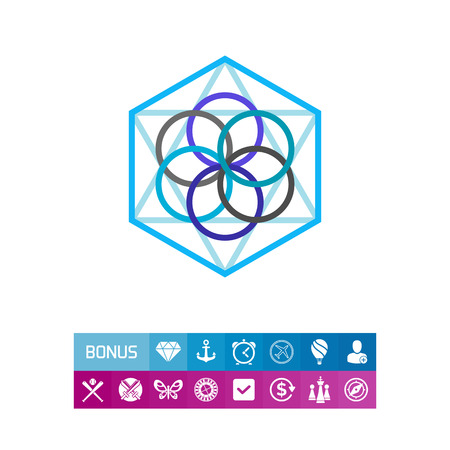 Abstract geometric circles and polygon elements. Philosophy, geometry, thin lines. Philosophy concept. Can be used for topics like science, philosophy, knowledge