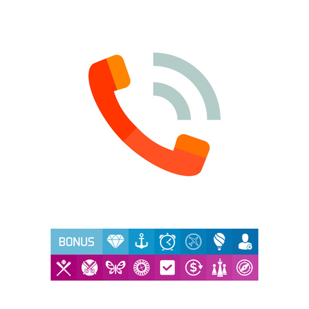Vector icon of phone orange handset isolated on white