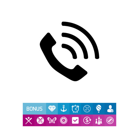 Monochrome vector icon of vintage telephone receiver
