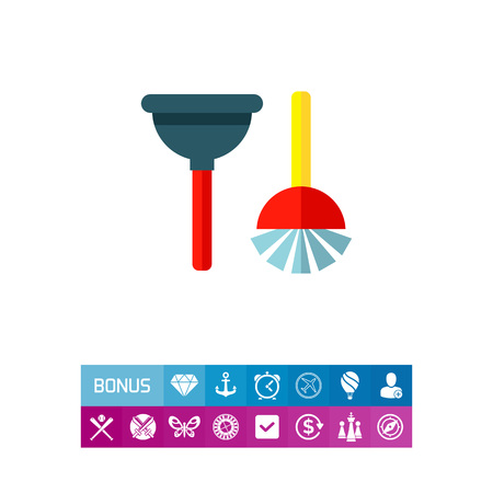Plunger and Toilet Brush Icon Illustration