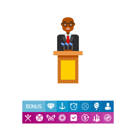 Male character speaking from tribune. President, public, performing. Politician concept. Can be used for topics like politics, democracy, sociology. Illustration