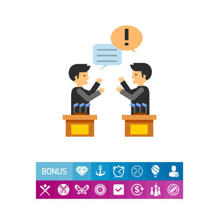 Two male characters in political debates. Emotions, argument, opinion. Debates concept. Can be used for topics like politics, communication, sociology. Illustration
