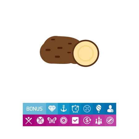 Vector icon of potato tuber and cut potato half