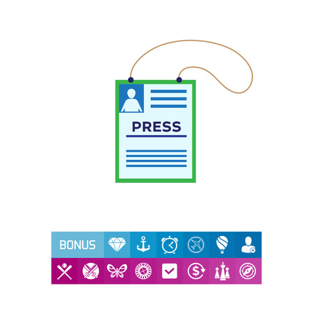 Vector icon of press accreditation card on string Illustration
