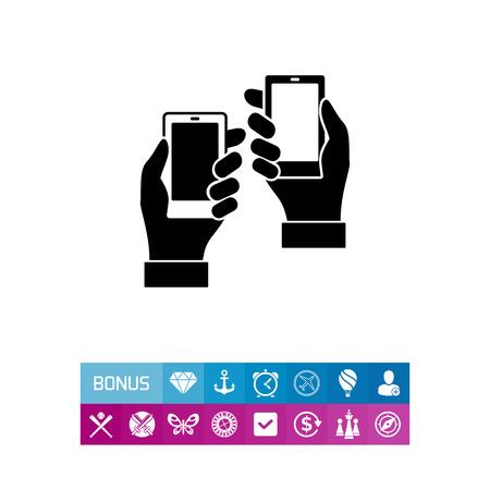 제품 배치를 나타내는 스마트 폰 채 두 남자 손의 벡터 아이콘