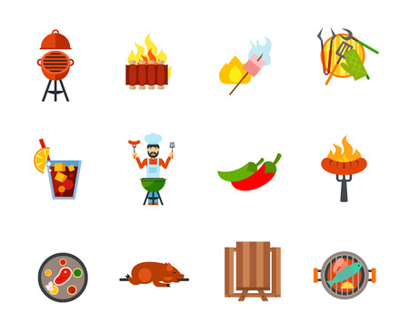spit: Barbecue icon set. Oven barbecue Ribs Grilled chicken drumstick Barbecue tools Man grilling Sausage in fork Steak Picnic table Grilled fish. Contains bonus icon of Cold drink Jalapeno pepper Lechon