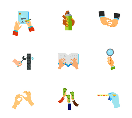 signing: Hands icon set. Signing job contract Graffiti spray Depicting hands Pipe repair Braille book Bidder hand Sign language Raising money Medical test