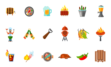 spit: Outdoor party icon set. Wooden barrel Steak Beer mug Grilled ribs Beer bucket Tap Toast Beer opener Oven barbecue Barbeque tools Sausage Cold drink Marshmallow Fish Lechon Jalapeno pepper Picnic table