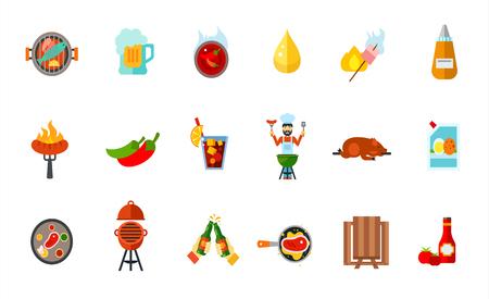 spit: Picnic party icon set Illustration