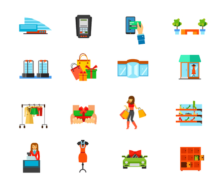 Shopping mall icon set. building Dataphone E-payment Bench Sensor gates Holiday purchase Revolving door Showcase Fashion store Free gift Woman shopping Shoe store Cashier Dress Special offer Lockers.