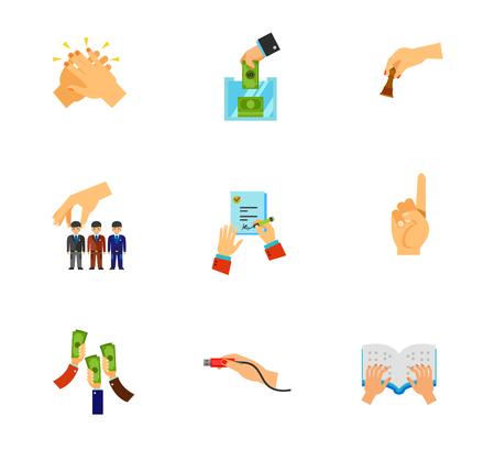 Hand gesture icon set Illustration