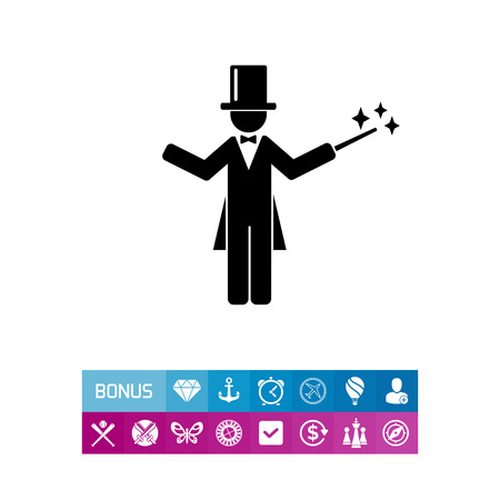 Man wearing a tail-coat, top hat, and holding a magic wand. Magician concept can be used for topics like show, circus, and entertainment.
