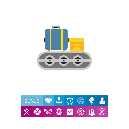 carrying: Multicolored vector icon of luggage carousel with suitcase and carton box Illustration
