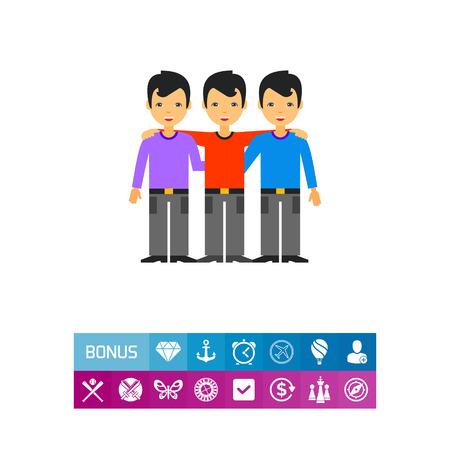 Tre uomini abbraccianti e sorridenti. Amicizia, unità, partnership. Concetto di collaborazione di squadra. Archivio Fotografico - 82518163