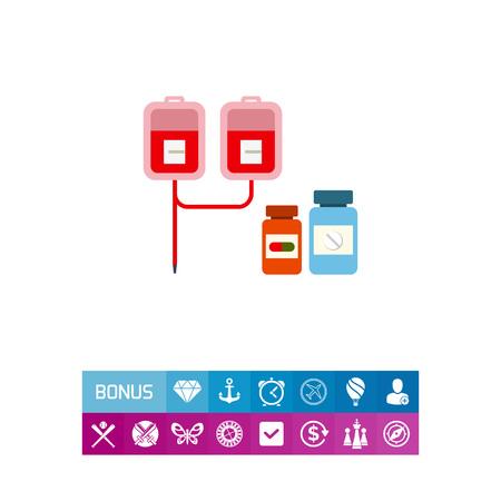 Ícone de vetor multicoloridos de gotejamento médico com sacos de iv e dois frascos de comprimidos Ilustración de vector