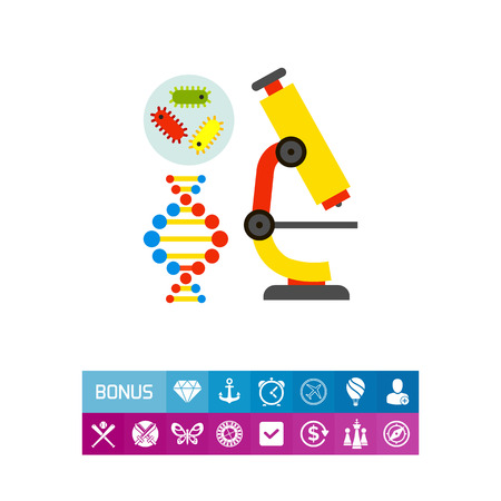 be: Illustration of bacteria, DNA molecule and microscope. Science, biology, school. Biology concept. Can be used for topics like school, education, science, knowledge