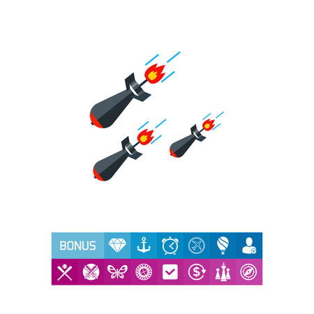 Missiles flat icon. Multicolored vector illustration of three military missiles